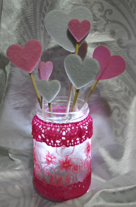 Floating Hearts Valentine's Jar Light - add lights to jar and skewers cut to varying lengths