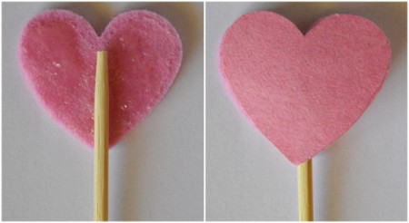 Floating Hearts Valentine's Jar Light - trace and cut out paper hearts, glue skewer to felt heart and back with paper ones