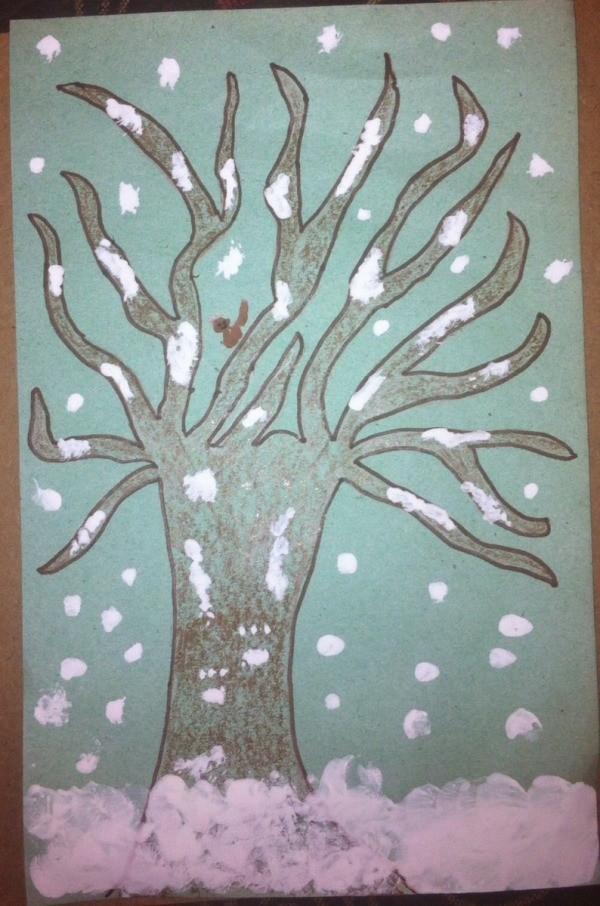 Winter Tree Finger Painting Thriftyfun