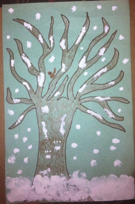 Winter Tree Finger Painting - paint on snow