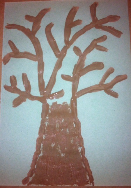 Winter Tree Finger Painting - paint in outline of trunk and branches and then fill in trunk
