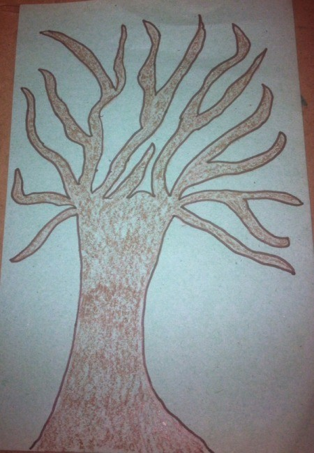 Winter Tree Finger Painting - draw tree with pencil, color in, and outline with marker