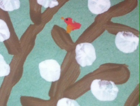 Winter Tree Finger Painting - small cardinal painted on branch