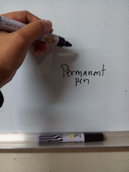 Permanent pen accidentally written on a white board.