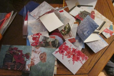 Gift tags made from Christmas cards.