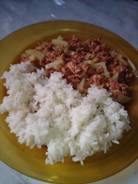 Corned beef and potato with rice on plate.