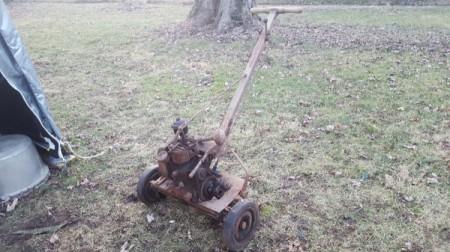 Value of 1938 Eclipse Reel Mower - old reel mower in yard