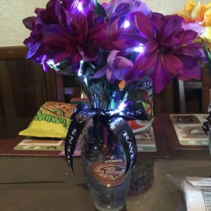 Lighted Flower Vases - vase with violet flowers lighted
