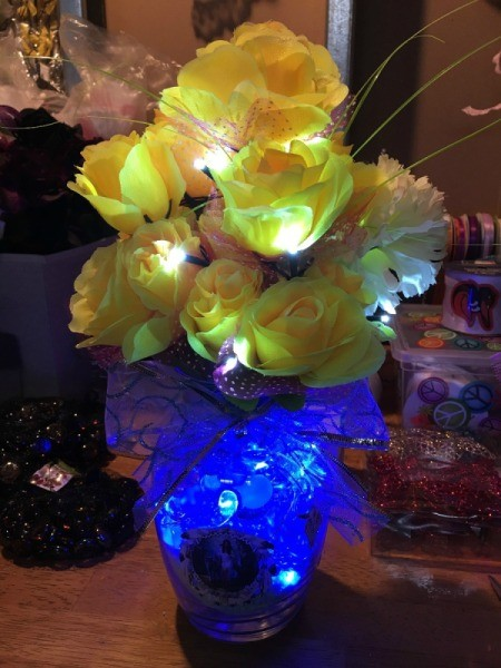 Lighted Flower Vases - lighted vase with cobalt blue lights and yellow flowers & Lighted Flower Vases | ThriftyFun