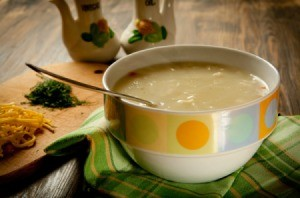 Bowl of cream of chicken soup.