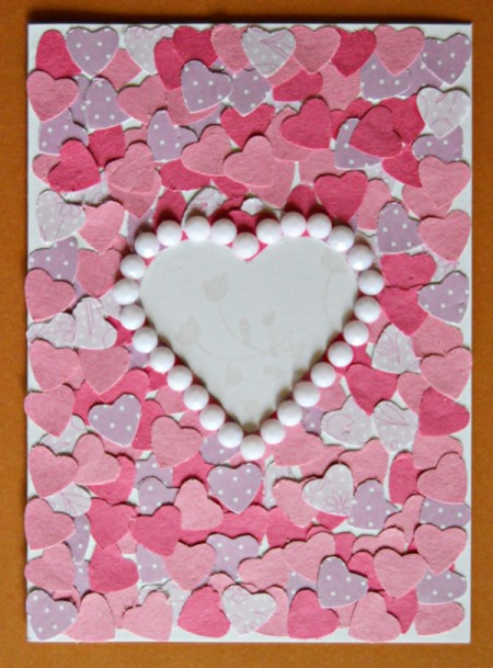 Pure Love Valentine's Day Card - finished heart card