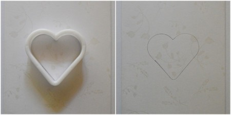 Pure Love Valentine's Day Card - use the cookie cutter and pencil to trace a heart onto the front of the card