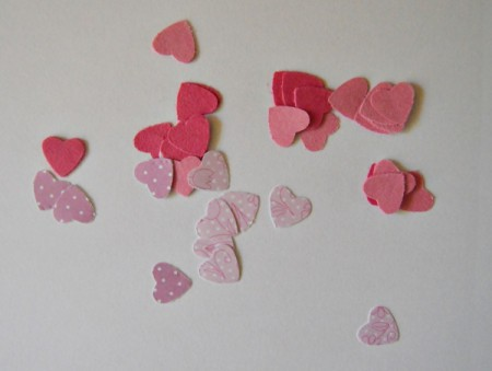 Pure Love Valentine's Day Card - punch hearts from the three types of paper