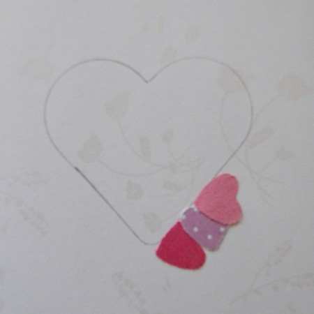 Pure Love Valentine's Day Card - glue hearts around the traced heart outline