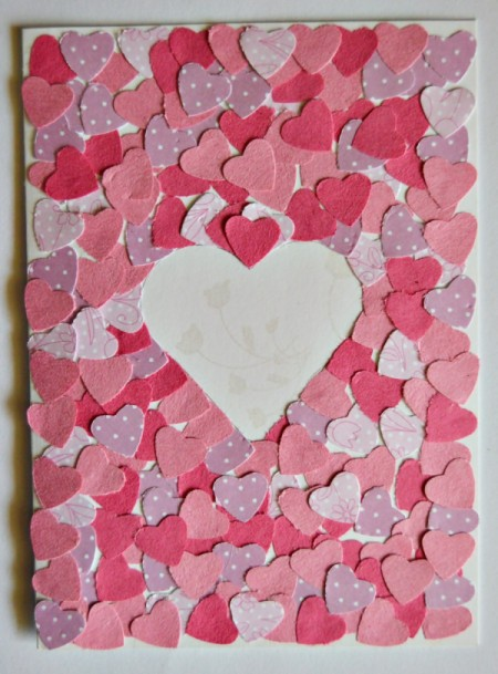 Pure Love Valentine's Day Card - cover the rest of the card's front with punched hearts