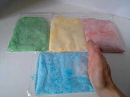 Colored Salt Decor - lay bags out and check color distribution in bags of salt