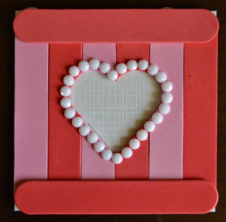 Pure Love Valentine's Day Magnetic Frame - glue a red foam stick to the top and bottom of the square
