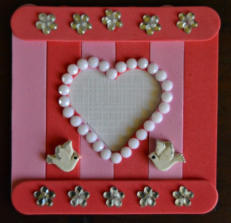 Pure Love Valentine's Day Magnetic Frame - glue turtle doves at base of heart, and trim any white paper that shows around the foam sticks