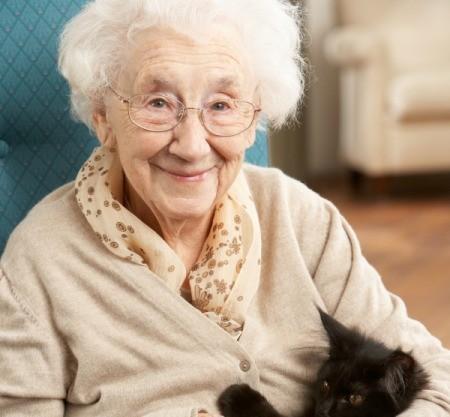 A woman at a nursing home.