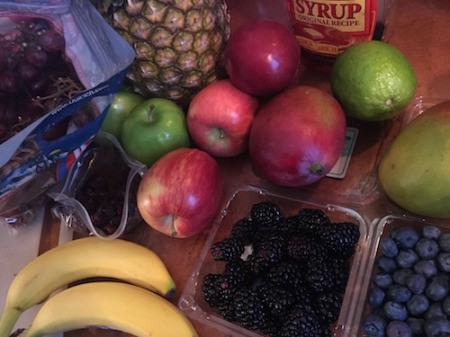 Fruit Salad with Maple Lime Dressing - ingredients