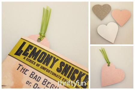 Glittery Heart Bookmarks