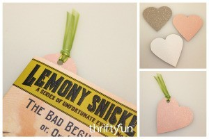 Glittery Heart Bookmarks