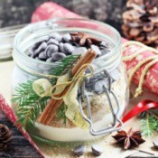 A gift jar with ingredients for baking cookies.