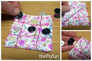 Fabric and Button Tic-Tac-Toe Game