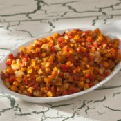 Sweet potato hash in a serving dish.