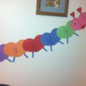 Name Heart Caterpillar - finished caterpillar hanging on the wall