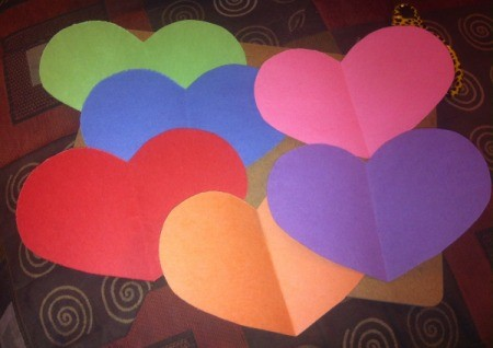 Name Heart Caterpillar - paper hearts