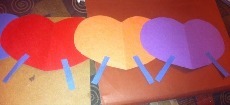 Name Heart Caterpillar - cut out slender pieces of paper for the legs and glue on from the back