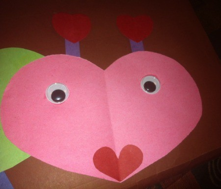 Name Heart Caterpillar - cut two antenna and small hearts for the ends and glue in place, add wiggle eyes, and heart shaped mouth