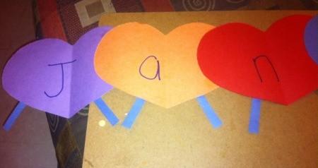 Name Heart Caterpillar - write child's name on caterpillar segments
