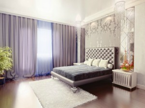 Purple curtains in a bedroom.