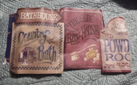 York Wallpaper Border - images of vintage bath house signs
