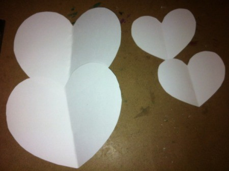 Rice Filled Paper Heart Shakers - cut out two hearts of the same size from the white cardstock