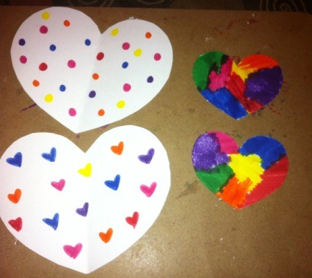 Rice Filled Paper Heart Shakers - decorate one side of each of the heart shaped papers