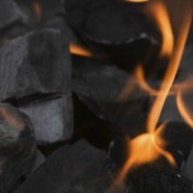 Coal burning to heat a home.