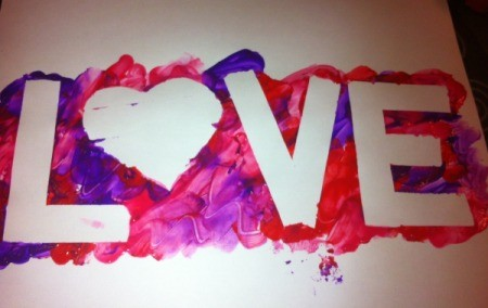 Love and Arrow Finger Paintings - finished LOVE painting