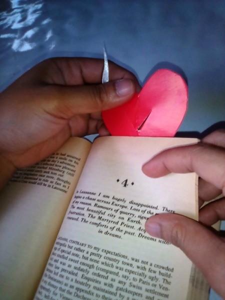 Valentine Bookmark - hook bookmark over page