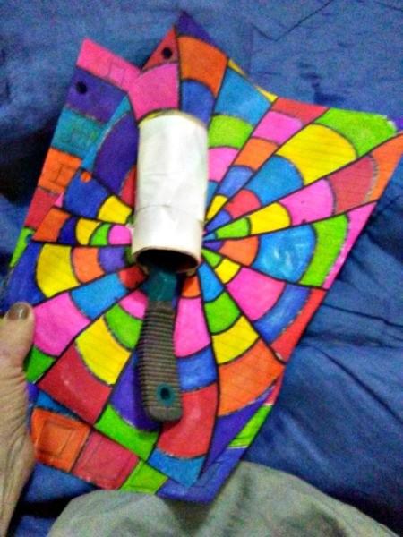 Thrifty Lint Roller Brush - tape wrapped TP tube on brush