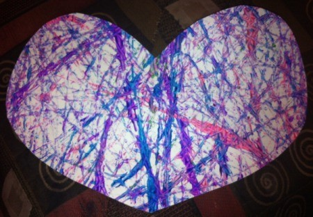 Marble-Painted Heart - finished heart