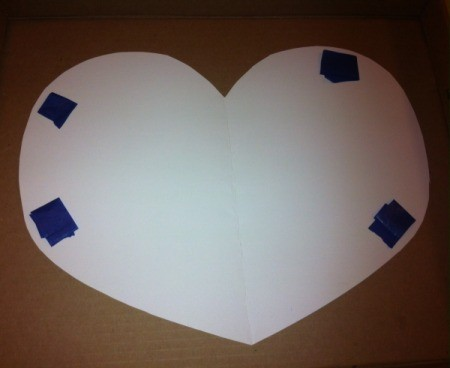 Marble-Painted Heart - place accordion folded painter's tape on back of heart and stick down in box