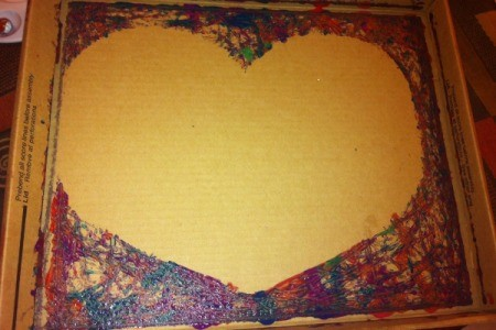 Marble-Painted Heart - silhouette of heart left in bottom of box