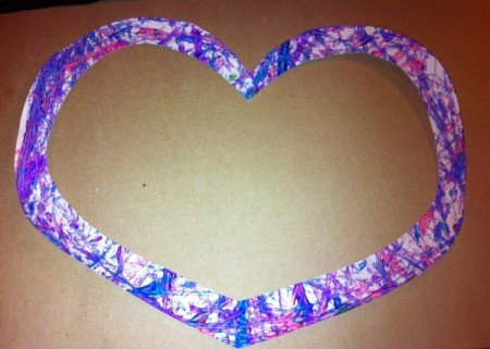 Marble-Painted Heart - trimmed edge of heart that could be used as a frame