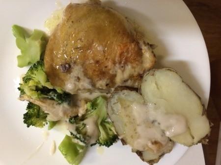 Chicken, potato and broccoli on plate