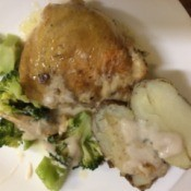 Chicken, potato and broccoli on plate