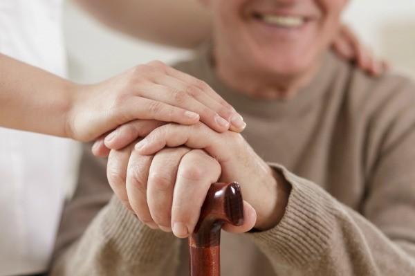 A Senior With Cane