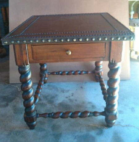 Recycled End Table as Canopy Pet Bed - ornate end table
